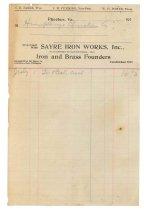 Image of 1990.7.119 - Receipt on Sayre Iron Works letterhead