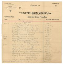 Image of 1990.7.121 - Sayre Iron Works accounting paperwork dated 4 September 1912