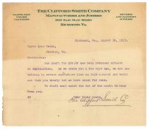 Image of 1990.7.125 - Letter from the Clifford Smith Company to Sayre Iron Works dated 20 August 1912