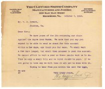Image of 1990.7.126 - Letter from the Clifford Smith Company to William H. Power dated 7 October 1912