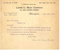 Image of 1990.7.128 - Letter from Lewis W. Bean Co. to Sayre Iron Works dated 24 August 1912