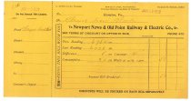 Image of 1990.7.139 - Bill from Newport News & Old Point Railway & Electric Co. to Sayre Iron Works dated 30 June 1912