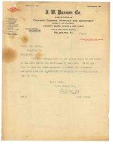 Image of 1990.7.145 - Letter from F.B. Platt to Sayre Iron Works dated 17 September 1912