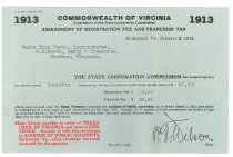 Image of 1990.7.163 - Commonwealth of Virginia assessment of registration fee and franchise tax form for Sayre Iron Works dated 2 January 1913