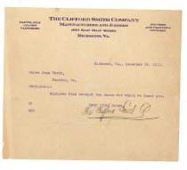 Image of 1990.7.171 - Letter from the Clifford Smith Company to Sayre Iron Works dated 26 December 1912