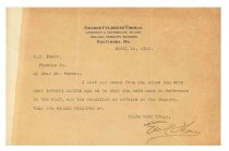 Image of 1990.7.45 - Letter from George Culbreth Thomas to William H. Power dated 11 April 1912
