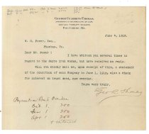Image of 1990.7.46 - Letter from George Culbreth Thomas to William H. Power dated 4 June 1912
