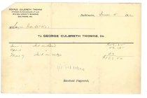 Image of 1990.7.47 - Receipt from George Culbreth Thomas to Sayre Iron Works dated 5 June 1912
