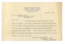 Image of 1990.7.51 - Letter from George Culbreth Thomas to James Cumming dated 23 July 1912