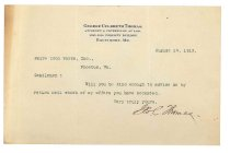 Image of 1990.7.54 - Letter from George Culbreth Thomas to Sayre Iron Works dated 14 August 1912
