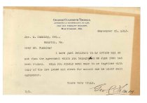 Image of 1990.7.58 - Letter from George Culbreth Thomas to James M. Cumming dated 25 September 1913