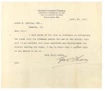 Image of 1990.7.77 - Letter from George Culbreth Thomas to James M. Cumming dated 30 April 1914