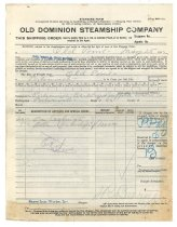 Image of 1990.7.81 - Old Dominion Steamship Company Shipping Order for Sayre Iron Works dated 25 May 1912