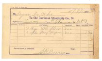 Image of 1990.7.82 - Old Dominion Steamship Company Receipt to Sayre Iron Works dated 9 May 1912