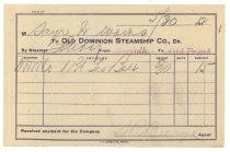 Image of 1990.7.89 - Old Dominion Steamship Company Receipt to Sayre Iron Works dated 30 May 1912