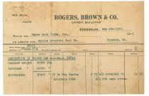 Image of 1990.7.92 - Receipt from Rogers, Brown & Co. to Sayre Iron Works dated 4 May 1912