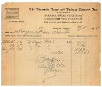 Image of 1990.7.95 - Bill from the Peninsula Barrel and Package Company to Sayre Iron Works dated 2 September 1912