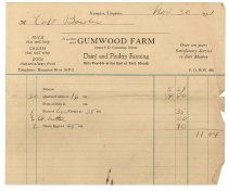 Image of 1990.7.324 - Gumwood Farm bill to Capt. Bowler dated 30 November 1931