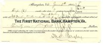 Image of 1990.7.343 - First National Bank bond signed by Thomas Bagley paying to the order of F.W. Darling, trustee under the will of Mary A. Darling, dated 5 June 1912, and note for Mrs. Lucy L. Bagley dated 9 September 1914