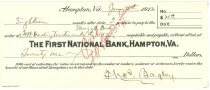 Image of 1990.7.344 - First National Bank bond signed by Thomas Bagley paying to the order of F.W. Darling, trustee under the will of Mary A. Darling, dated 5 June 1912.