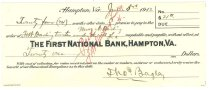 Image of 1990.7.345 - First National Bank bond signed by Thomas Bagley paying to the order of F.W. Darling, trustee under the will of Mary A. Darling, dated 5 June 1912.