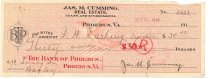 Image of 1990.7.347 - James M. Cumming Bank of Phoebus check made out to Frank W. Darling Trustee, dated 8 September 1914