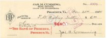 Image of 1990.7.348 - James M. Cumming Bank of Phoebus check made out to Frank W. Darling Trustee, dated 31 December 1914