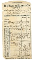 Image of 1990.7.349 - Bank of Hampton deposit slip for the Langley Terminal Co., dated 9 February 1920
