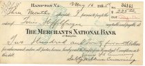 Image of 1990.7.358 - Merchants National Bank bond signed by James S. D. Cumming and Sally Wilkins Cumming paying to the order of Louis Heffelfinger, dated 16 May 1925