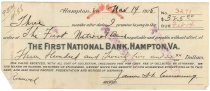 Image of 1990.7.389 - First National Bank bond signed by James S. D. Cumming paying to the order of the First National Bank, dated 14 November 1925