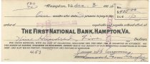 Image of 1990.7.391 - First National Bank bond signed by James S. D. Cumming paying to the order of Shackelford Auto Co., dated 3 December 1925