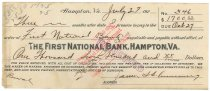 Image of 1990.7.393 - First National Bank bond signed by James S. D. Cumming paying to the order of the First National Bank, dated 27 July