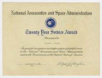 Image of L2017.7.4 - NASA twenty-year service award certificate
