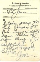 Image of 1990.7.410 - Prescription made by James M. Anderson for L. L. Jones, undated