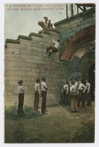 Image of CC2016.31.8 - Postcard with image of soldiers practicing wall scaling at Fort Monroe