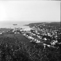 Image of View of Camden harbor and Negro Island from the top of Mt. Battie, 1898