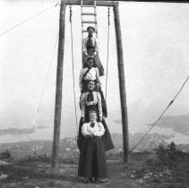 Image of Grace Parker (top) and friends at the Summit House, 1898