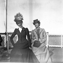 Image of Theresa Babb (left) and Alice Merriam on the Bangor boat, June 1899
