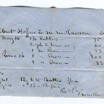 Image of bill of sale from Albert Hofses to M.M. Rawson 1854