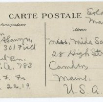 Image of WWI postcard from Percival Sawyer of Camden