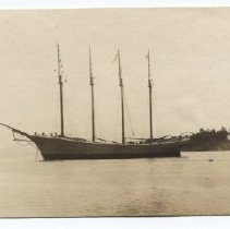 Image of 4-masted schooner off Curtis Island, Camden, Maine