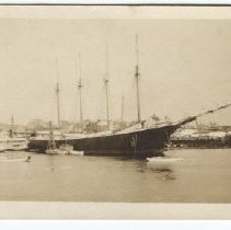 "Image of Schooner ""Percy R. Pyne"" at the Camden shipyard"