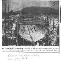 Image of 22 July 1942 clipping about wooden barges built at Camden shipyard