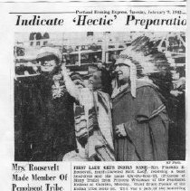 Image of Mrs. Roosevelt Made Member of Penobscot Tribe