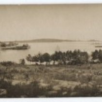 Image of Camden harbor and steamship wharf postcard