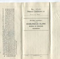 Image of Pension certificate James Lane 1926