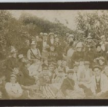 "Image of Family gathering at unknown location, labeled ""Uncle Josh's cottage, 1890"""