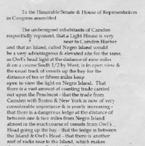 Image of transcription of 1832 petition for lighthouse at Negro Island pg1