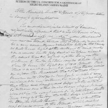 Image of Photocopy of 1832 petition to US Congress for lighthouse on Negro Island