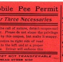 Image of 1999.31.6 Pee Permit